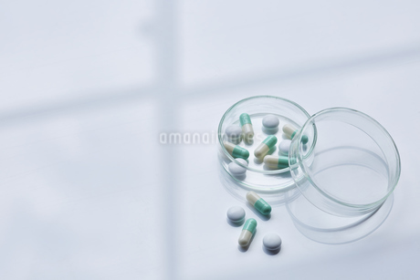 シャーレの中に入った薬の写真素材 [FYI04581187]