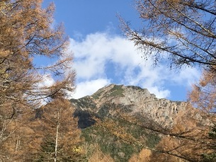 紅葉の阿弥陀岳登山、秋の八ヶ岳の写真素材 [FYI04581746]