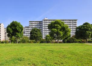 集合住宅と草地の広場の写真素材 [FYI04581870]