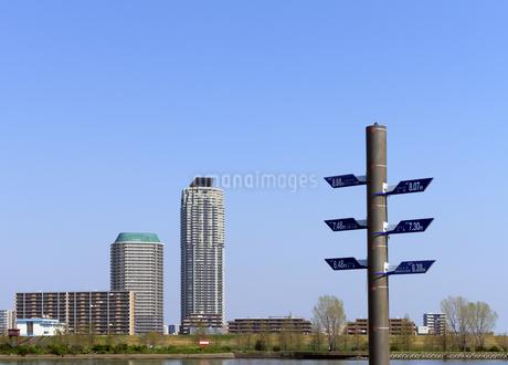 荒川の増水記録ポールと川口市の高層タワーマンションの写真素材 [FYI04581915]