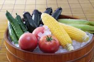 桶に乗せた夏野菜の写真素材 [FYI04582579]