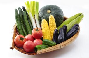 ザルに乗せた夏野菜の写真素材 [FYI04582582]