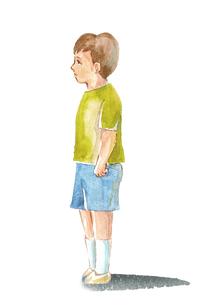 寂しそうな子ども水彩画のイラスト素材 [FYI04582922]