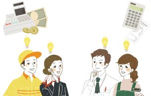 働く人達-笑顔-決済・販売-コピースペースのイラスト素材 [FYI04583647]