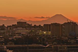遠望東京から富士山暮色と新幹線の写真素材 [FYI04583848]