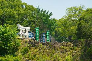 加藤神社の鳥居と復旧工事中の熊本城の写真素材 [FYI04583993]