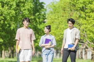 会話をしながら歩く若者グループの写真素材 [FYI04584375]