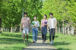 会話をしながら歩く若者グループの写真素材 [FYI04584391]