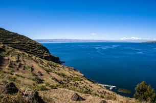 チチカカ湖・太陽の島の段々畑とレアル山脈の写真素材 [FYI04585424]
