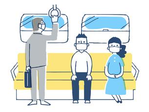 一定の距離をとって電車に乗る人々のイラスト素材 [FYI04585499]