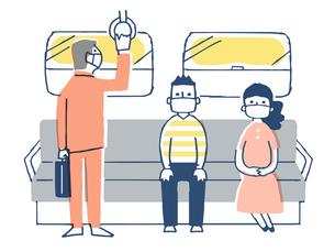 一定の距離をとって電車に乗る人々のイラスト素材 [FYI04585509]