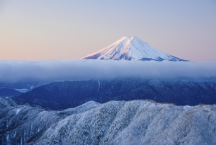 山梨県 霧氷の稜線と富士山の写真素材 [FYI04585691]