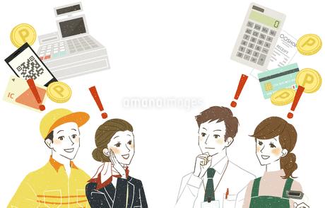 働く人達-笑顔-決済・販売・キャッシュレス-コピースペースのイラスト素材 [FYI04585821]
