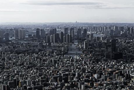 東京スカイツリーの展望台から見た東京ベイエリアの風景の写真素材 [FYI04586135]