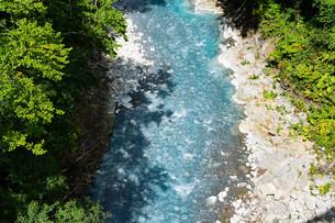 緑に囲まれた青い川の写真素材 [FYI04587518]