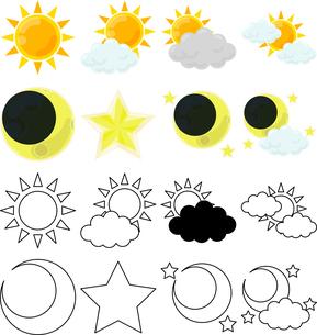 晴れの天気を伝える可愛いアイコンのイラスト素材 [FYI04588620]