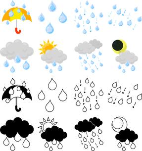 雨の天気を伝える可愛いアイコンのイラスト素材 [FYI04588621]