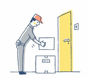 玄関前に置き配する配達員のイラスト素材 [FYI04589368]