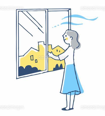 窓を開けて換気をする女性のイラスト素材 [FYI04589387]