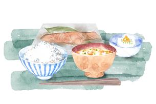 和食の朝ごはんの水彩画のイラスト素材 [FYI04590042]