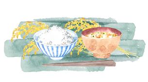 ご飯と味噌汁と稲穂の水彩画のイラスト素材 [FYI04590043]