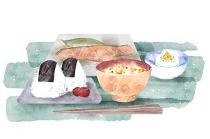 和食の朝ごはんの水彩画のイラスト素材 [FYI04590979]
