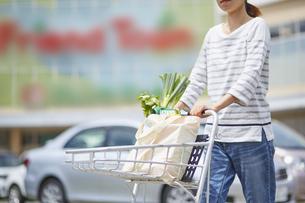 エコバッグに入れた食材をカートで運んでる女性の写真素材 [FYI04591021]