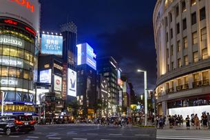 東京都中央区 夜の銀座通りの賑わいの写真素材 [FYI04591506]