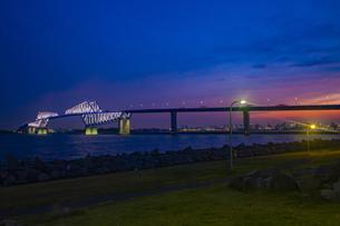 夜に輝く東京ゲートブリッジと東京港臨海道路の写真素材 [FYI04591618]
