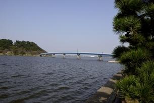 鳥取,青空の湖山池と大橋の写真素材 [FYI04591667]