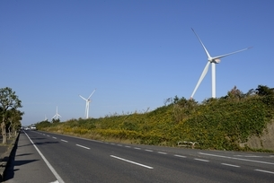 鳥取,青空と国道9号線沿いに風力発電の写真素材 [FYI04591675]