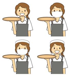 飲食店の若い女性店員 マスク フェイスシールド セット イラストのイラスト素材 [FYI04592057]