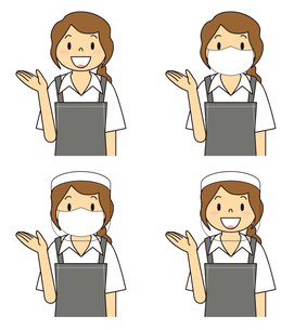 飲食店の若い女性店員 マスク フェイスシールド セット イラストのイラスト素材 [FYI04592058]