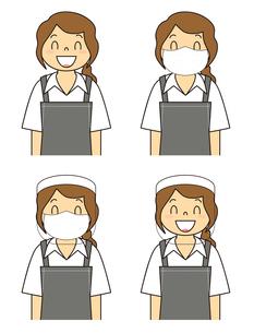 飲食店の若い女性店員 マスク フェイスシールド セット イラストのイラスト素材 [FYI04592059]