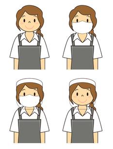 飲食店の若い女性店員 マスク フェイスシールド セット イラストのイラスト素材 [FYI04592060]