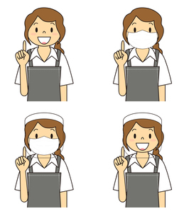 飲食店の若い女性店員 マスク フェイスシールド セット イラストのイラスト素材 [FYI04592064]
