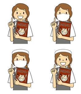 飲食店の若い女性店員 マスク フェイスシールド セット イラストのイラスト素材 [FYI04592065]