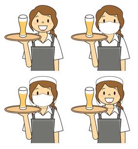 飲食店の若い女性店員 マスク フェイスシールド セット イラストのイラスト素材 [FYI04592067]