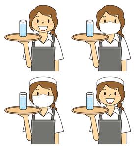 飲食店の若い女性店員 マスク フェイスシールド セット イラストのイラスト素材 [FYI04592068]