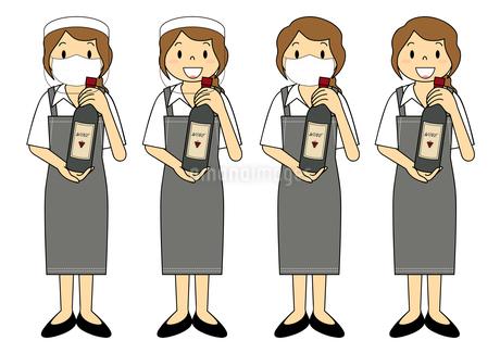 飲食店の若い女性店員 マスク フェイスシールド セット イラストのイラスト素材 [FYI04592074]