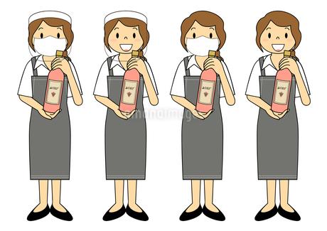 飲食店の若い女性店員 マスク フェイスシールド セット イラストのイラスト素材 [FYI04592075]