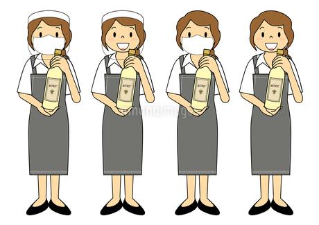 飲食店の若い女性店員 マスク フェイスシールド セット イラストのイラスト素材 [FYI04592077]