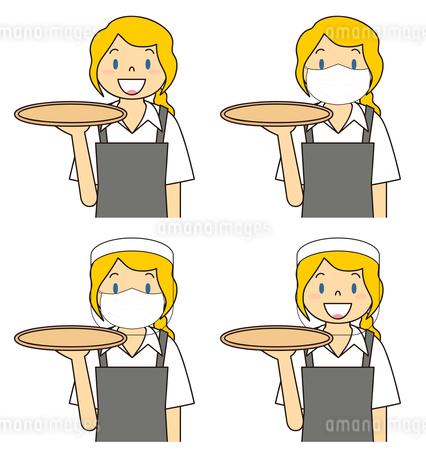 飲食店の若い女性店員 マスク フェイスシールド セット イラストのイラスト素材 [FYI04592078]