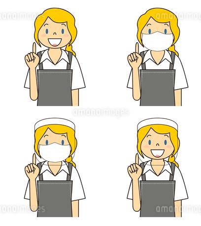 飲食店の若い女性店員 マスク フェイスシールド セット イラストのイラスト素材 [FYI04592085]