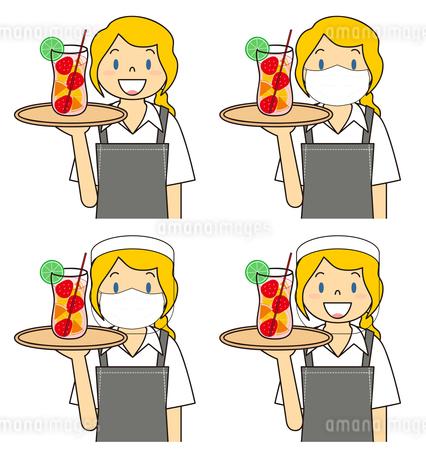 飲食店の若い女性店員 マスク フェイスシールド セット イラストのイラスト素材 [FYI04592091]