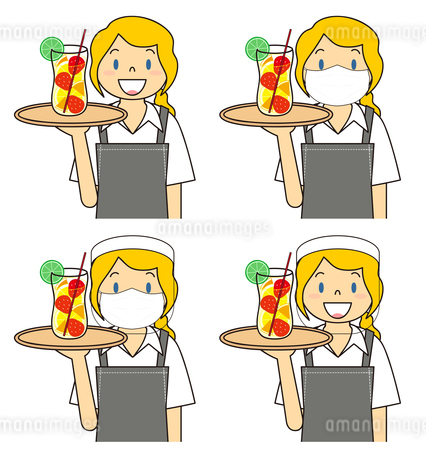 飲食店の若い女性店員 マスク フェイスシールド セット イラストのイラスト素材 [FYI04592092]