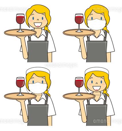 飲食店の若い女性店員 マスク フェイスシールド セット イラストのイラスト素材 [FYI04592094]