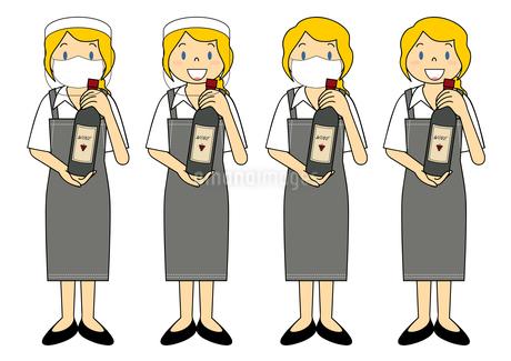 飲食店の若い女性店員 マスク フェイスシールド セット イラストのイラスト素材 [FYI04592095]