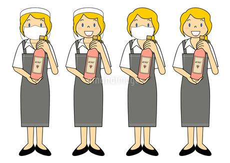 飲食店の若い女性店員 マスク フェイスシールド セット イラストのイラスト素材 [FYI04592096]