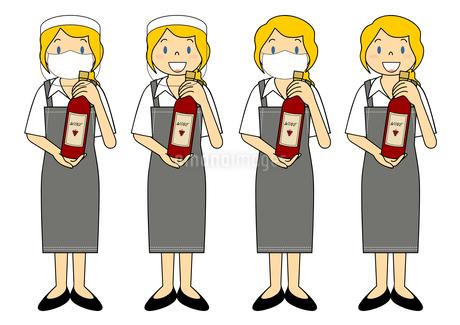 飲食店の若い女性店員 マスク フェイスシールド セット イラストのイラスト素材 [FYI04592097]